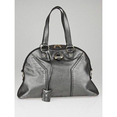 Yves Saint Laurent Silver Metallic Leather Large Muse Bag