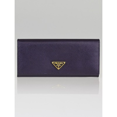 Prada Indaco Saffiano Oro Leather Continental Wallet 1M1132