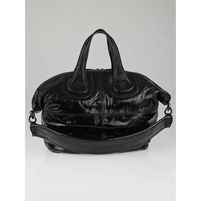 Givenchy Black Crinkled Patent Leather Small Nightingale Bag
