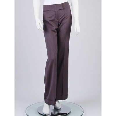 Chloe Grey Wool Wide Leg Trouser Pants Size 6/38