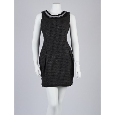 Alexander McQueen Grey Wool Knit Sleeveless Plaid Dress Size 8/40