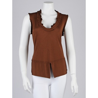 Escada Brown Knitted Viscose Sleeveless Top Size 6/38
