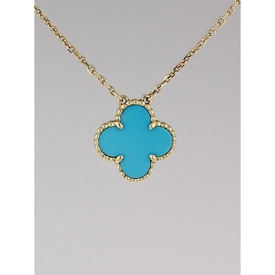 Van Cleef & Arpels 18k Gold and Turquoise Vintage Alhambra Pendant