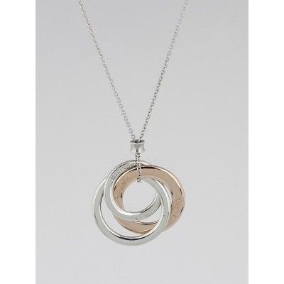 Tiffany & Co. Sterling Silver and Rubedo Metal Interlocking Circles Pendant Necklace
