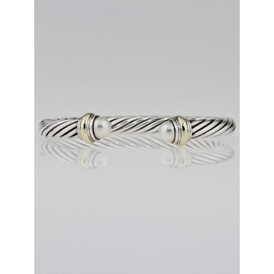 David Yurman 7mm Sterling Silver and Pearl Cable Classics Bracelet