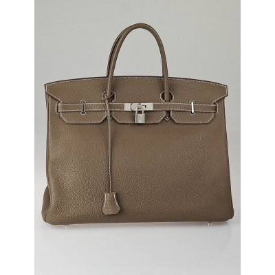 Hermes 40cm Etoupe Togo Leather Palladium Plated Birkin Bag