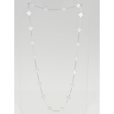 Van Cleef & Arpels 18k White Gold White Mother-of-Pearl Vintage Alhambra 20 Motif Necklace