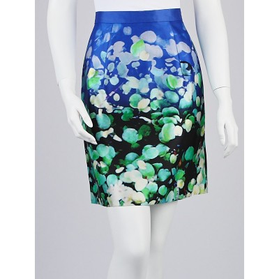 Oscar de la Renta Blue Multicolor Watercolor Print Fabric Skirt Size 6