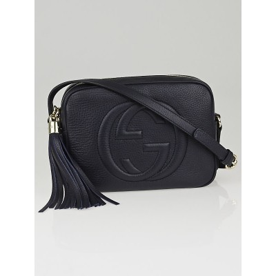 Gucci Navy Blue Pebbled Leather Soho Disco Shoulder Bag