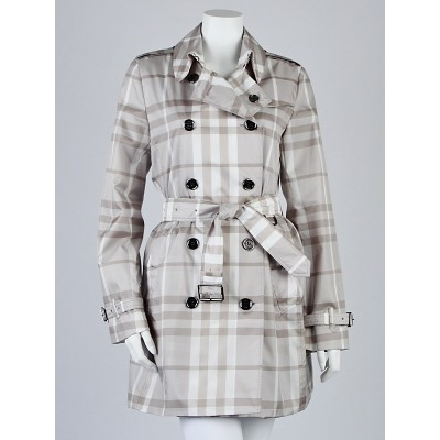 Burberry Brit Grey Check Polyester Double Breasted Trench Coat Size 6