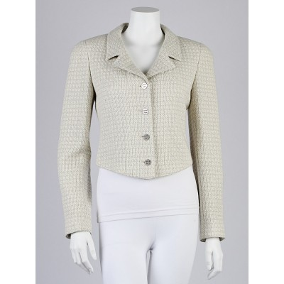 Chanel Light Green Tweed Cropped Jacket Size 6/38