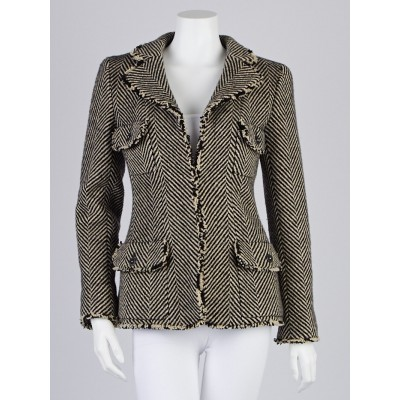 Chanel Black/Beige Wool Herringbone Jacket Size 6/38