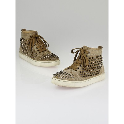 Christian Louboutin Taupe Suede Gunmetal Spikes Flat Louis High-Top Sneakers Size 8.5/39