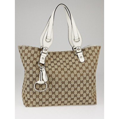 Gucci Beige/White GG Canvas Horsebit Charm Tote Bag