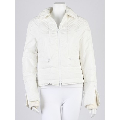 Gucci White GG Quilted Nylon Zip Puffer Jacket Size 10/44