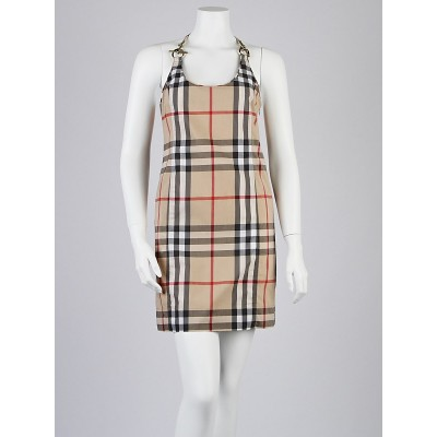 Burberry London House Check Cotton Blend Racerback Dress Size 4