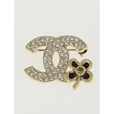 Chanel Crystal Flower CC Brooch