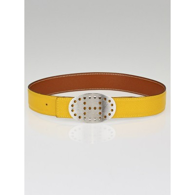 Hermes 32mm Gold/Jaune Courchevel Leather Brushed Palladium Mirage Belt Size 65