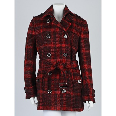 Burberry Brit Red Check Wool Alcester Belted Trench Coat Size 12