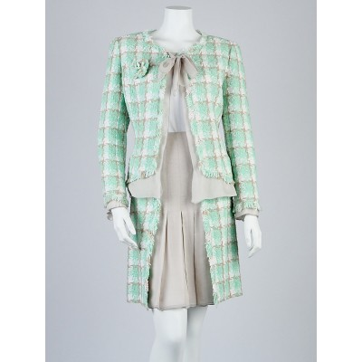 Chanel Mint Tweed and Grey Silk Skirt Suit Size 10/42 & 6/38