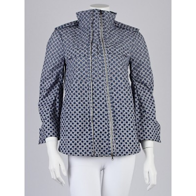 Marni Blue/White Patterned Nylon Zip Jacket Size 6/40