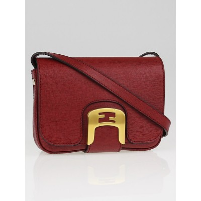 Fendi Dark Red Leather Chameleon Small Saddle Bag