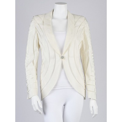 Giorgio Armani White Sheer Paneled Viscose Blazer Jacket Size 10/44