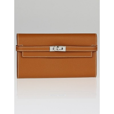 Hermes Gold Epsom Leather Kelly Long Wallet