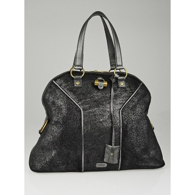 Yves Saint Laurent Silver Pony Hair Oversized Muse Bag