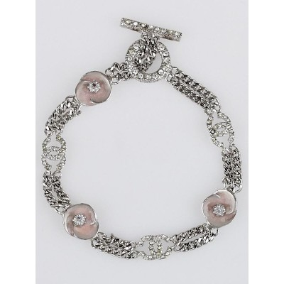 Chanel CC Crystal and Lavender Flowers Bracelet