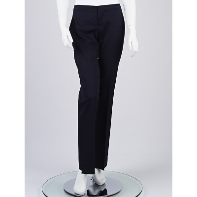 Gucci Navy Blue Wool Blend GG Trouser Pants Size 8/42