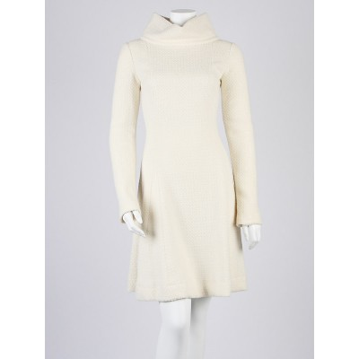 Chanel Cream Angora/Wool Knit Sweater Dress Size 6/38