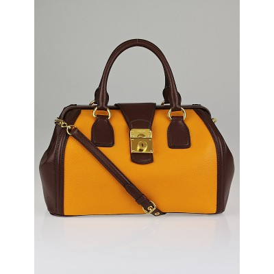 Miu Miu Yellow/Brown Leather Top Handle Frame Doctor Bag