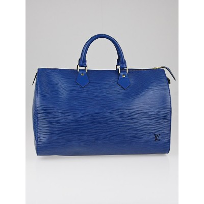 Louis Vuitton Toledo Blue Epi Leather Speedy 35 Bag