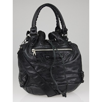 Balenciaga Black Lambskin Leather Giant Brogues Covered PomPon Bag
