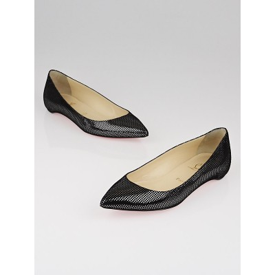Christian Louboutin Black/Silver Platine Suede Pigalle Flats Size 7/37.5