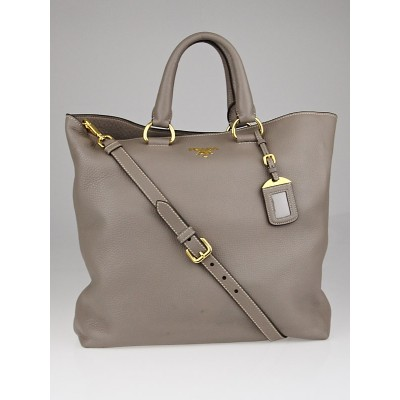Prada Argilla Vitello Daino Leather Large Shopping Tote Bag BN1713
