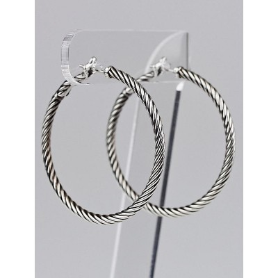 David Yurman Sterling Silver Cable Hoop Earrings