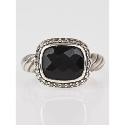 David Yurman Black Onyx and Diamond Noblesse Ring Size 6