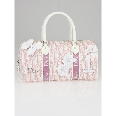 Christian Dior Pink Logo Canvas Girly Flowers Boston Bag