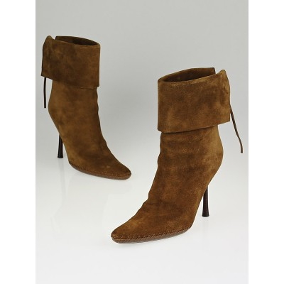 Gucci Brown Suede Foldover Lace Up Boots Size 7B