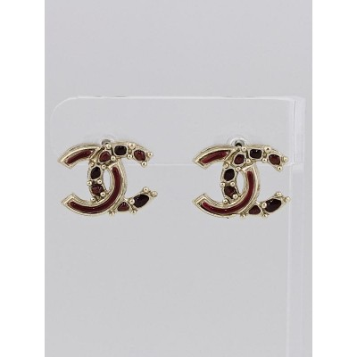 Chanel Red/Gold Resin CC Stud Earrings