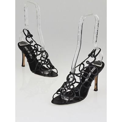 Manolo Blahnik Black Leather Swirly Cage Sandals Size 6/36.5