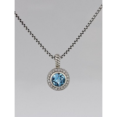 David Yurman Blue Topaz and Diamond Albion Pendant Necklace