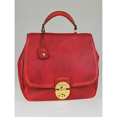 Miu Miu Rosso Vitello Vintage Leather Large Top Handle Bag