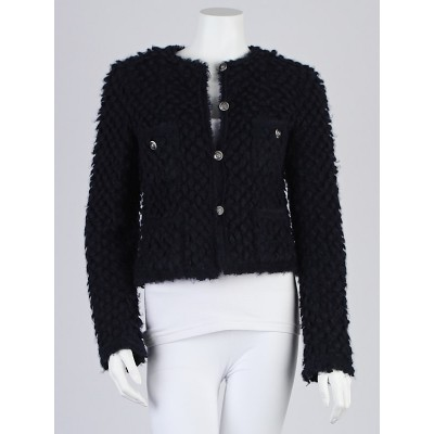 Chanel Navy Blue Mohair Knit Jacket Size 6/38