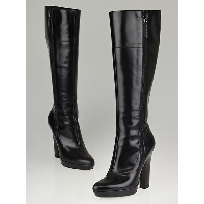 Gucci Black Glossy Leather Knee High Platform Boots Size 6/36.5C