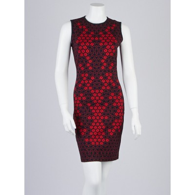 Alexander McQueen Red/Blue Printed Rayon Sleeveless Dress Size 8/42