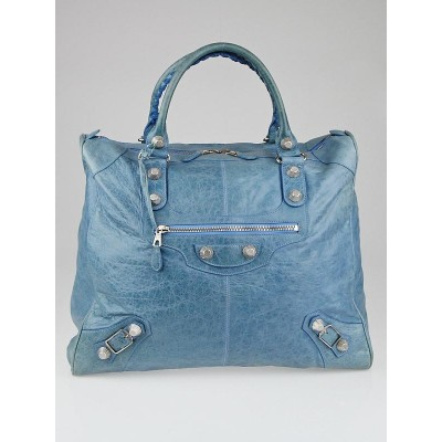Balenciaga Turquoise Lambskin Leather Giant 21 Silver Escapade Bag
