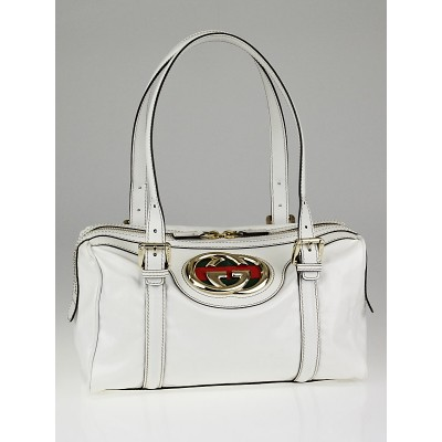 Gucci White Dialux Britt Small Boston Satchel Bag